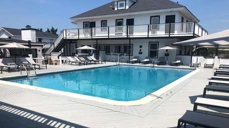 The outdoor pool at Fire Island Beach House