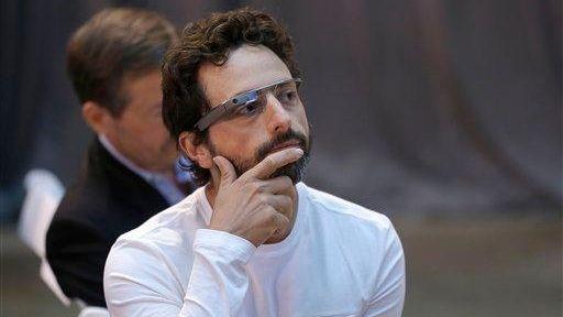 Google co-rounder Sergey Brin wears Google Glass glasses
