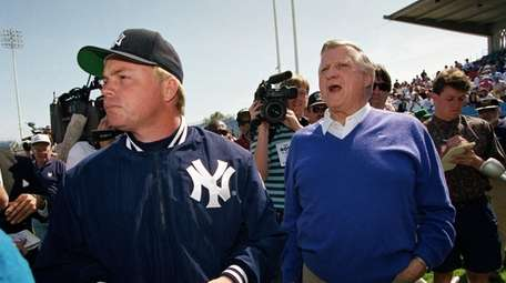 New York Yankees owner George Steinbrenner, right, during