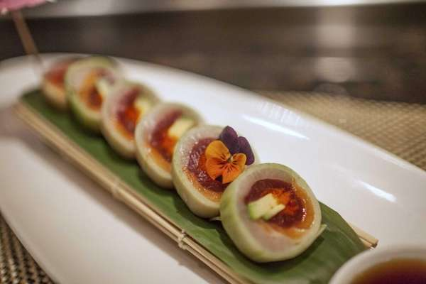 Ting succeeds with the cucumber-wrapped naruto roll, of