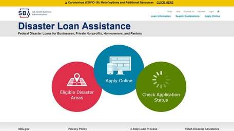 The Disaster Loan Assistance page on the U.S.