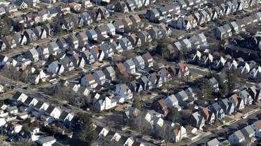 A neighborhood of houses over Nassau County is