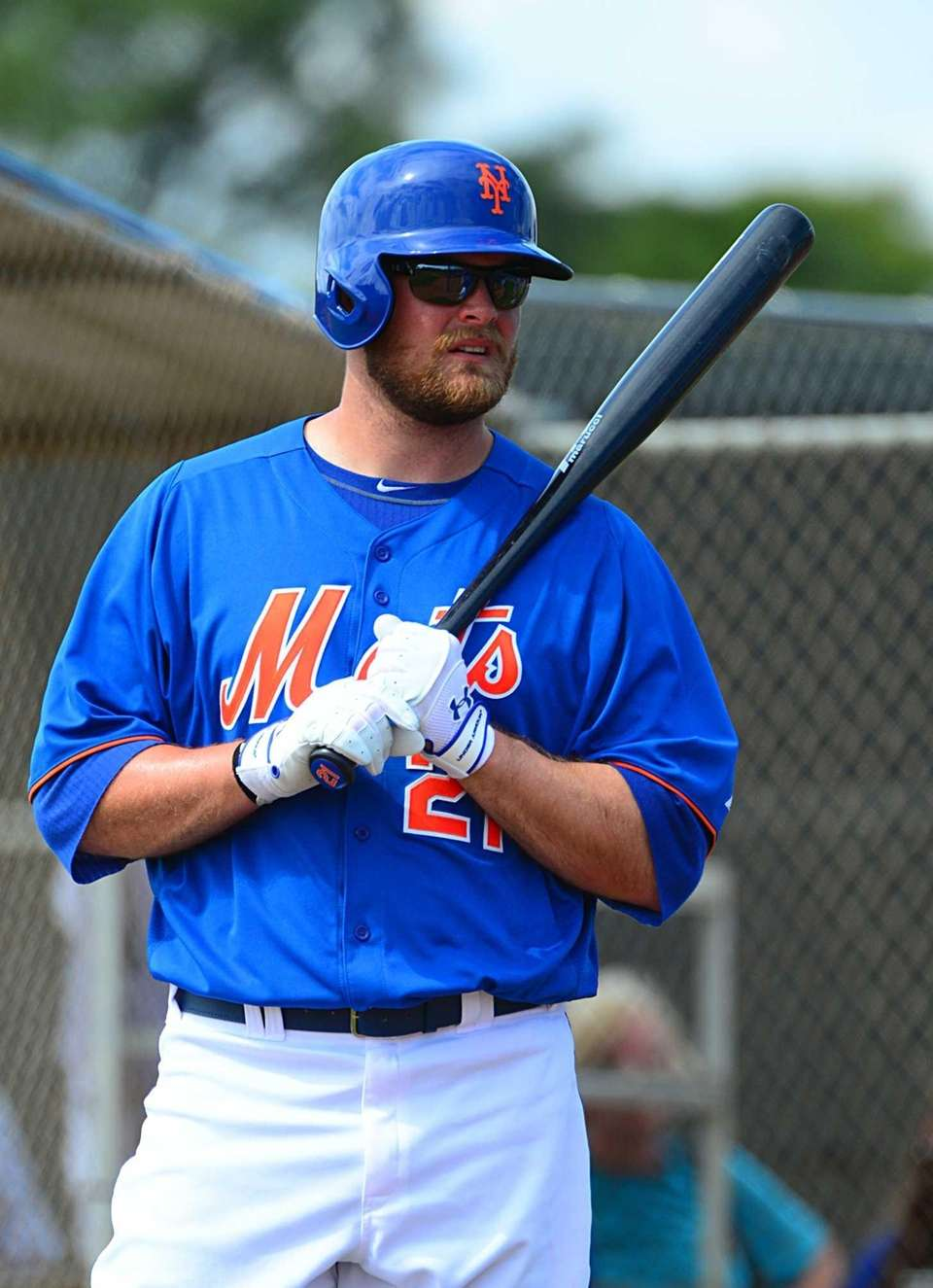 Outfielder Lucas Duda gets ready for batting practice