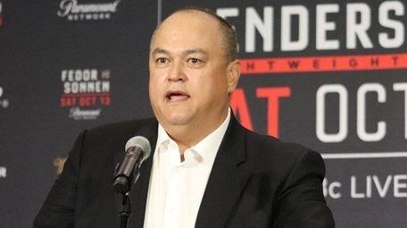 Bellator president Scott Coker speaks at the Bellator