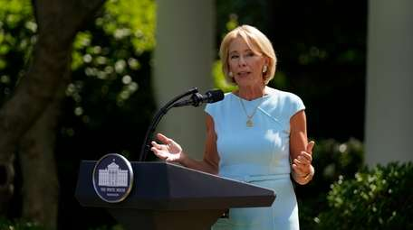 Education Secretary Betsy DeVos speaks during an event