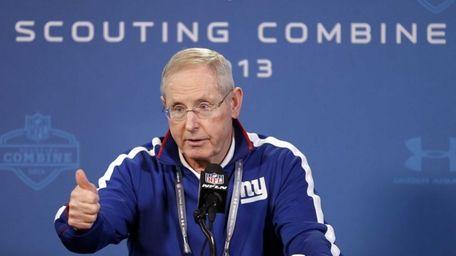 New York Giants head coach Tom Coughlin answers
