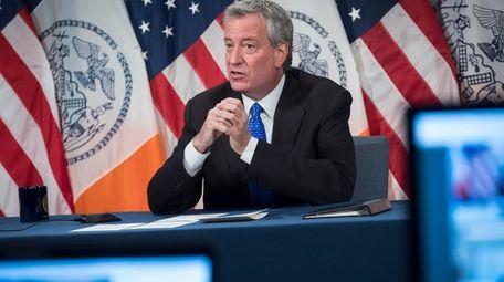 New York City Mayor Bill de Blasio, discussing