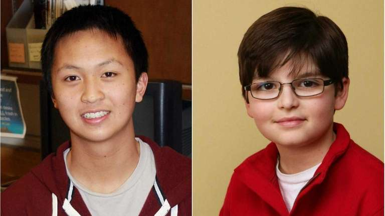 Samuel Lam, 17, of Jericho High School, left,