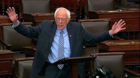 Sen. Bernie Sanders, I-Vt., speaks on the Senate