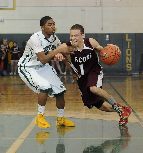 Deer Park's Aaren Edmead drives past Brentwood's Marcus