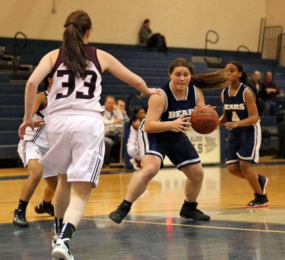 Stony Brook's Mikaela Stiklickas drives the paint against