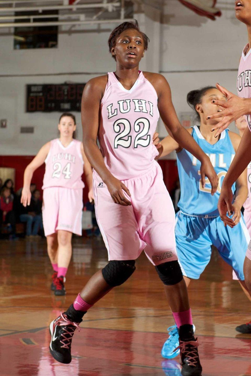 Long Island Lutheran forward Staci Barrett plays defense