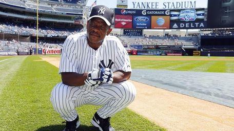 Rickey Henderson at Yankees Old-Timers' day at Yankee