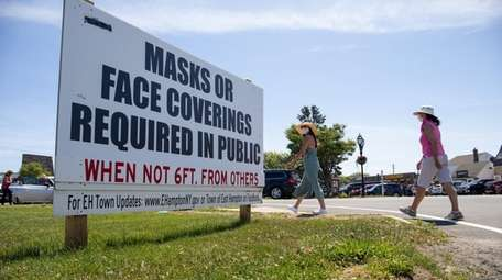 This sign in Montauk on Thursday reminds residents