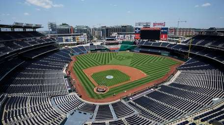 An overall view of Nationals Park on July