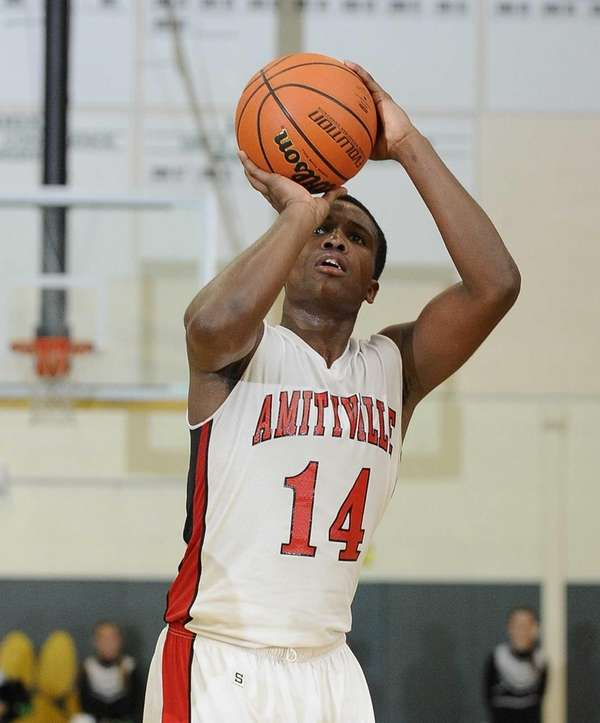 Amityville's Kavione Green shoots a free throw against