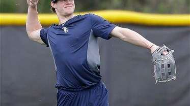 Tampa Bay Rays outfielder Wil Myers throws the