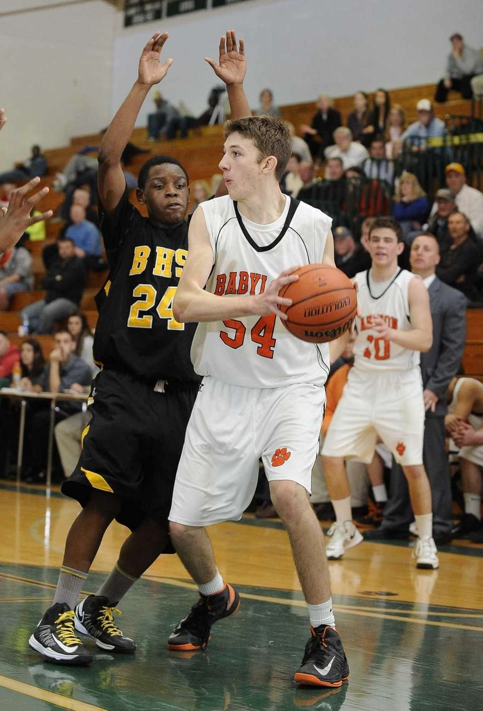 Babylon's Brendan Laing is guarded by Bridgehampton's Anajae