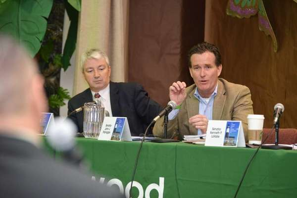 Sen. John J. Flanagan fields a question from