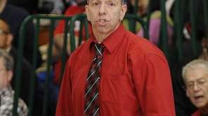 Amityville's head coach Jack Agostino reacts during action