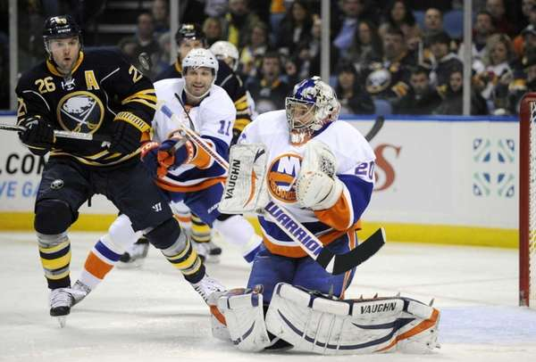 Buffalo Sabres' left winger Thomas Vanek eyes the