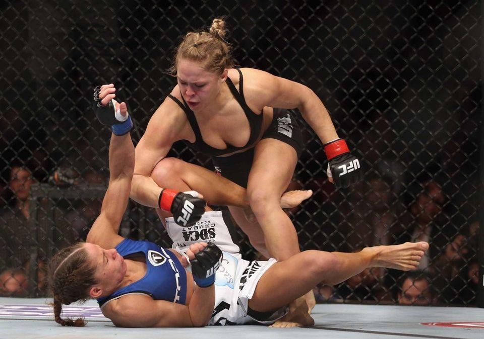 ANAHEIM, CA - FEBRUARY 23: Ronda Rousey hits