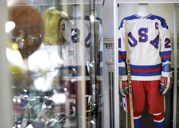 The game-worn jersey of Mike Eruzione from the