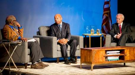 Rep. John Lewis, middle, speaks at a SUNY
