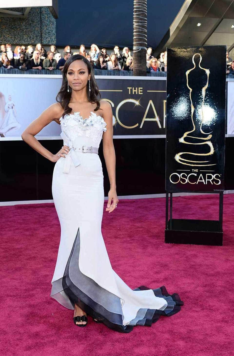 Zoe Saldana arrives on the red carpet at