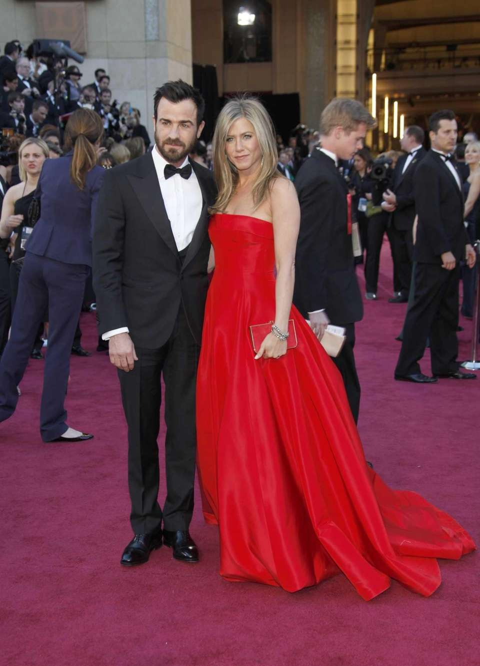 Justin Theroux and Jennifer Aniston arrive at the