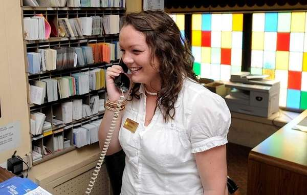 Caitriona Quinn works at the front desk at