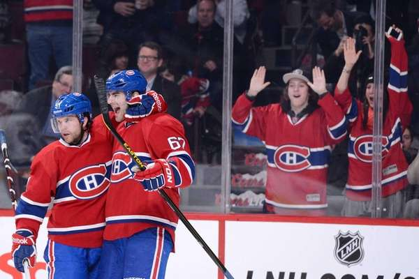 The Montreal Canadiens' Max Pacioretty celebrates his second-period