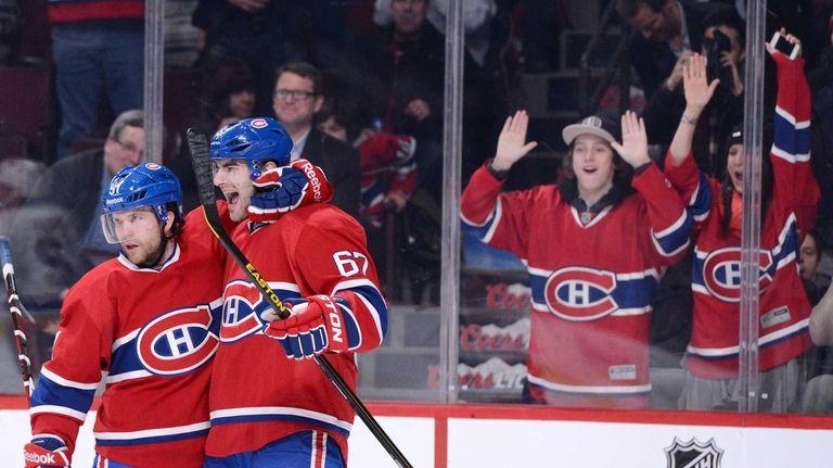 The Montreal Canadiens' Max Pacioretty celebrates his second-period