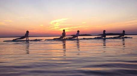 A group of stand up paddlers perform yoga