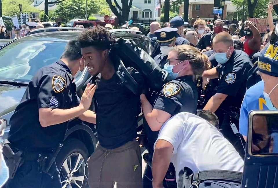 Black Lives Matter protestor is arrested as they
