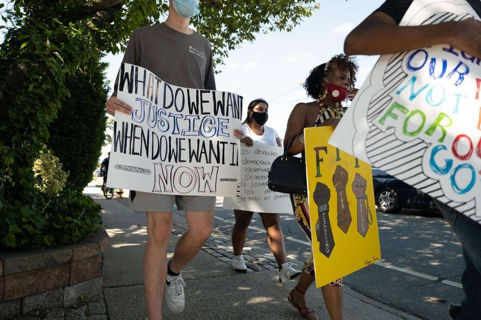 Protesters march through Freeport for racial justice on