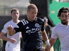 New York City FC defender Anton Tinnerholm, left,