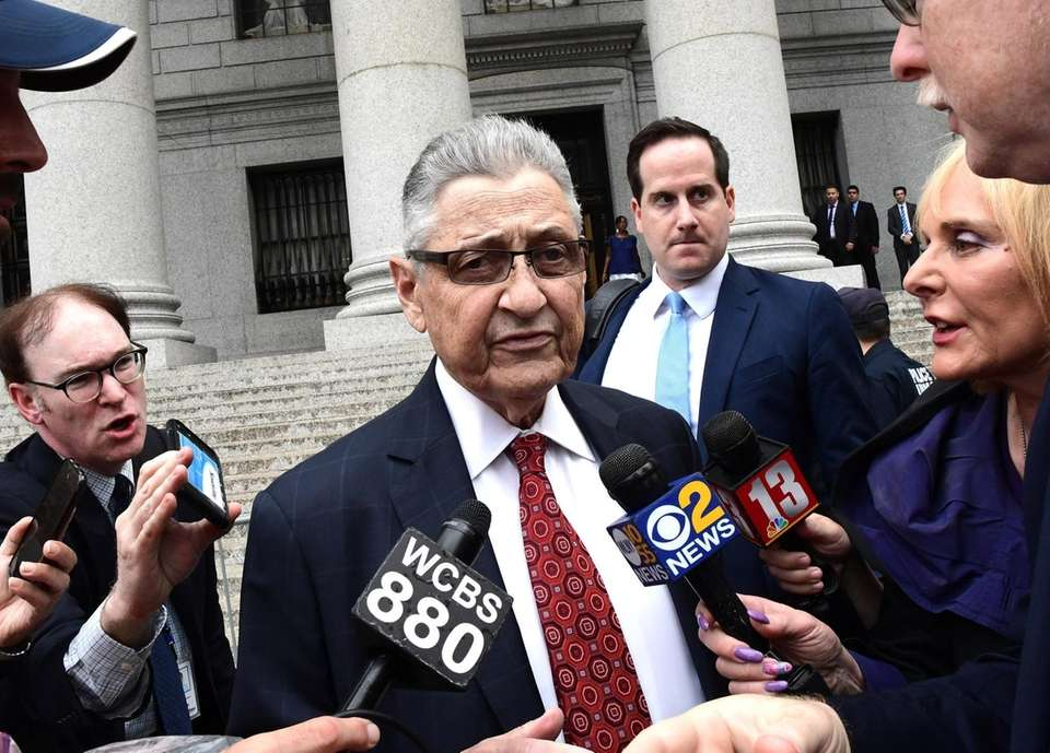 Former N.Y. Assembly Speaker Sheldon Silver exits a