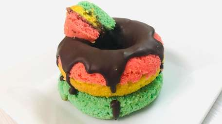 The uber-popular rainbow cookie doughnut at Le Petit