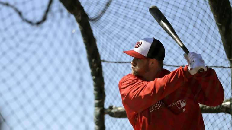 Washington Nationals outfielder Bryce Harper waits for a