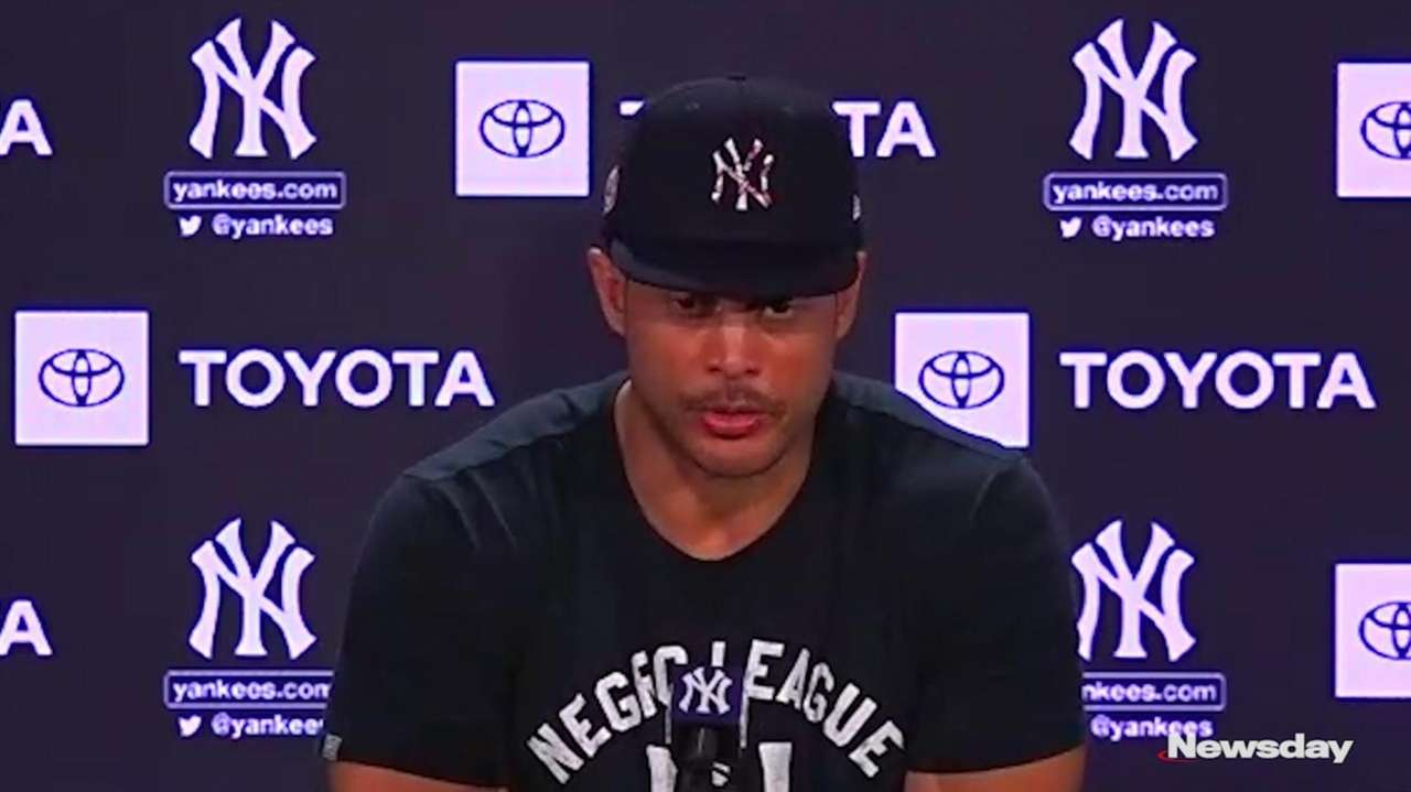 YankeesoutfielderGiancarlo Stantonspoke at a press conference on Monday