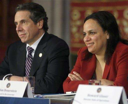 New York Gov. Andrew Cuomo, left, and Counsel