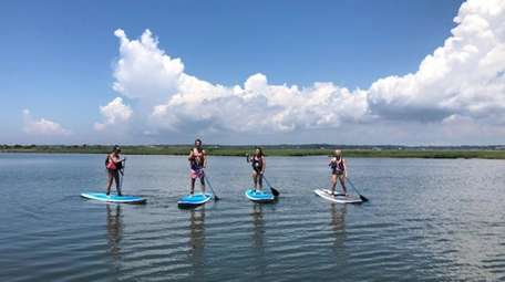 A group of paddleboarders out on an excursion