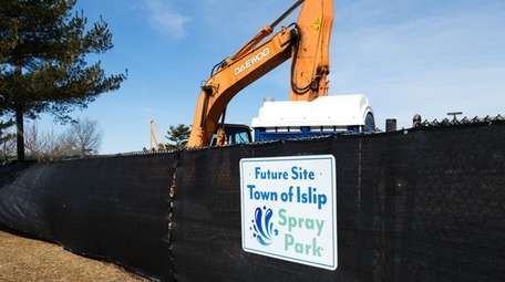 A new spray park under construction at the