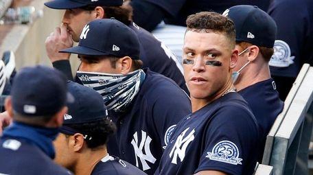 Aaron Judge #99 of the Yankees looks on