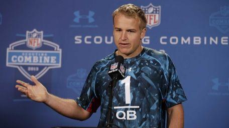 Southern California quarterback Matt Barkley answers a question