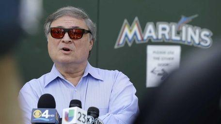 Miami Marlins owner Jeffrey Loria talks during a