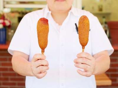 Corn dogs, Jennie's at Drossos, Greenport, May 31,