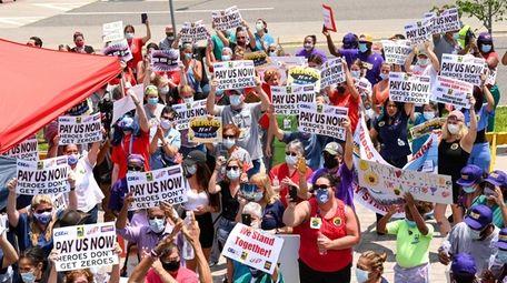 Hospital workers rallied outside Stony Brook University Hospital