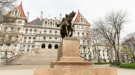 The New York State Capitol during the COVID-19